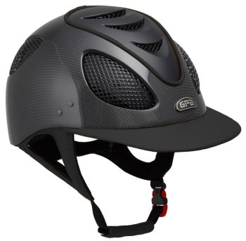 GPA New Generation EVO+ 2X Shiny Carbon Leather Riding Helmet - Black Leather Black Grills & Vent (£816.67 Exc VAT & £980.00 Inc VAT)