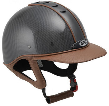 GPA Highlite Prestige Carbon Riding Helmet -  Shiny Carbon Shell/Chestnut Leather (£749.17 Exc VAT & £899.00 Inc VAT)