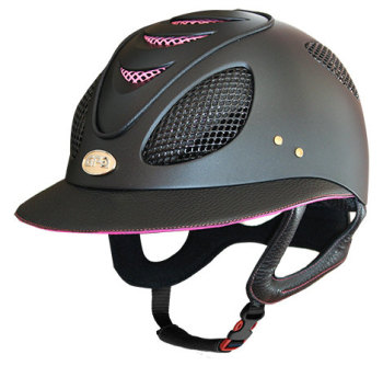 GPA First Lady 2X Leather Riding Helmet - Black/Baby Pink (£582.50 Exc VAT & £699.00 Inc VAT)
