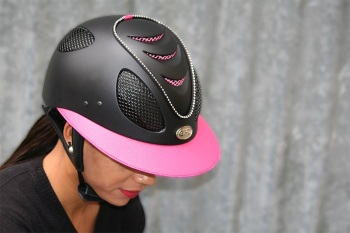 GPA First Lady 2X Leather Riding Helmet - Black Shell, Pink Leather and Grills With Swarovski Crystals - (£582.50 Exc VAT or £699.00 Inc VAT)