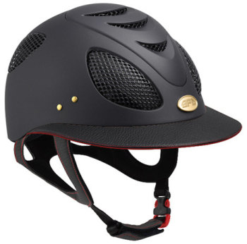 GPA First Lady Leather Red Side Riding Helmet - Black/Red Leather (£525.00 Exc VAT & £630.00 Inc VAT)