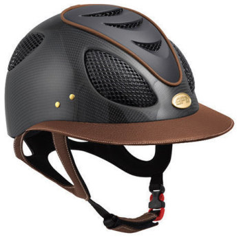 GPA First Lady Leather Carbon 2X Riding Helmet - Shiny Carbon Chestnut Leather (£816.67 Exc VAT & £980.00 Inc VAT)
