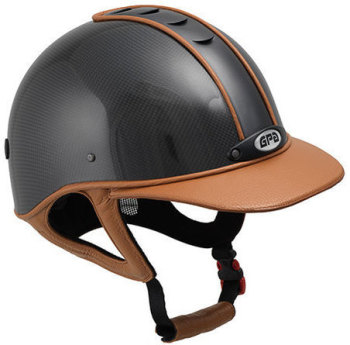 GPA Highlite Prestige Carbon Riding Helmet -  Shiny Carbon Shell/Tan Gold Leather (£749.17 Exc VAT & £899.00 Inc VAT)