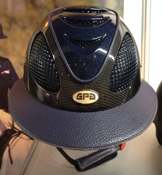 GPA First Lady Leather Carbon 2X Riding Helmet - Shiny Carbon Navy Leather and Navy Shiny Vent (£816.67 Exc VAT & £980.00 Inc VAT)