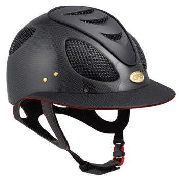 GPA First Lady Leather Carbon 2X Riding Helmet - Matt or Shiny Carbon Black/Red Leather (£816.67 Exc VAT & £980.00 Inc VAT)