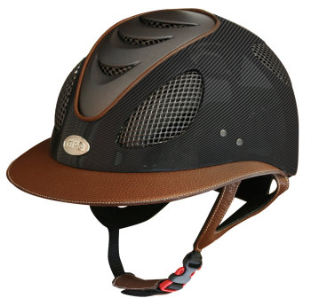 GPA First Lady Leather Carbon 2X Riding Helmet - Matt Carbon Chestnut Leather (£816.67 Exc VAT & £980.00 Inc VAT)