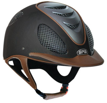 GPA Speed' Air 2X Matt Carbon Prestige Riding Helmet -  Chestnut Leather (£816.67 Exc VAT & £980.00 Inc VAT)