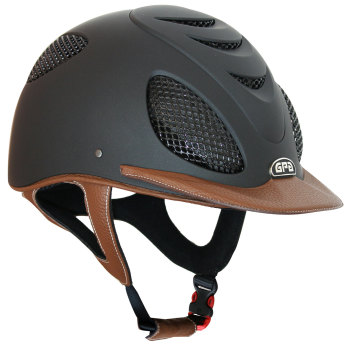 GPA Speed' Air 2X Leather Riding Helmet - Black/Chestnut Leather (£525.00 Exc VAT & £630.00 Inc VAT)
