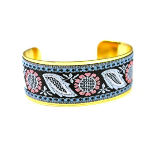 Gold Plated Floral Vintage Fabric Bangle