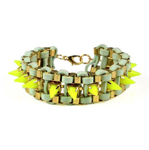 Yellow Back Spike Bracelet