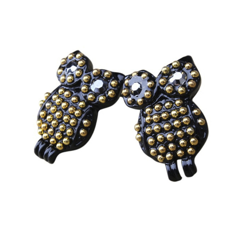 Black Vintage Owl Earrings