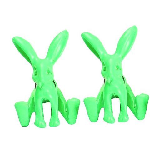 Neon Green Rabbit Earrings