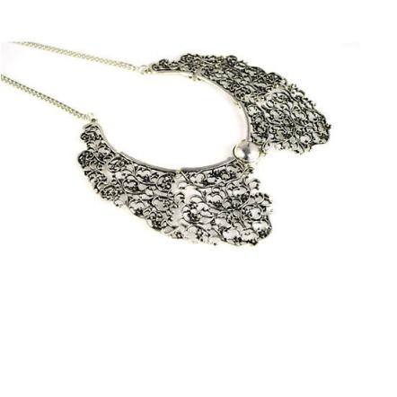 Antique Silver Lattice Collar Necklace