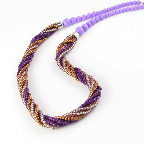 Purple Twist Bead Necklace