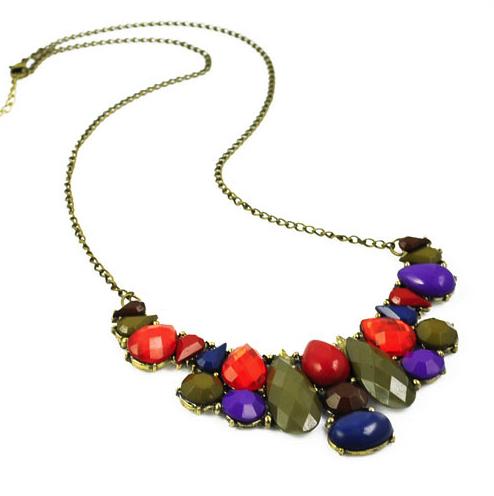 Purple Mix Gem Necklace