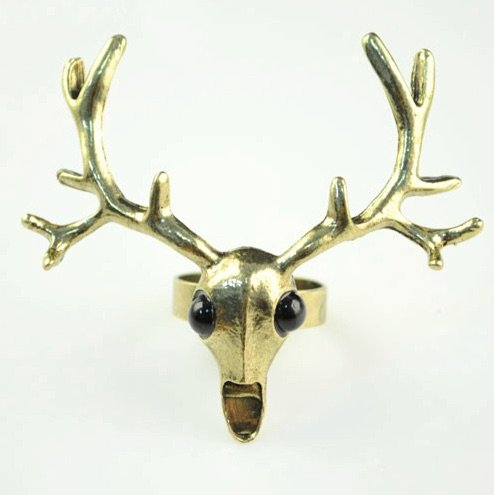 Bronze Stag Head Ring