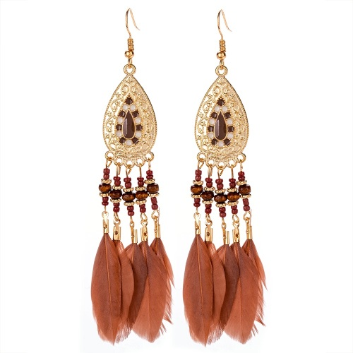 Enamel & Gold Tone Feather Earrings - Chocolate