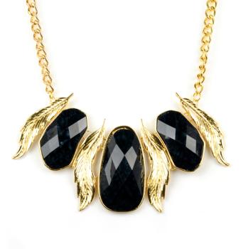 Black & Gold Leaf Necklace