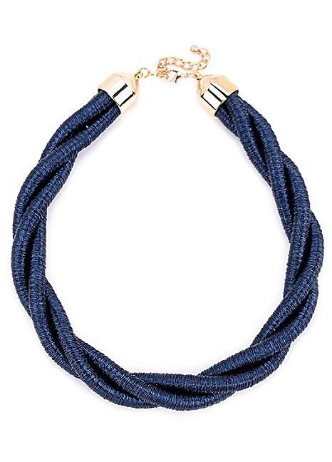 Navy Blue Twist Statement Necklace