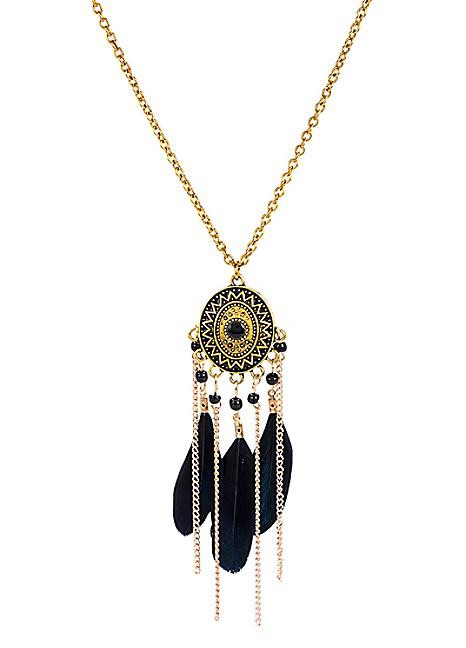 Black Feather Statement Necklace