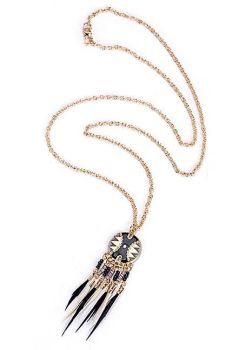 Enamel Feather Drop Necklace