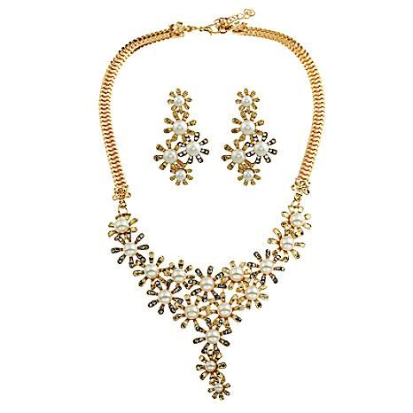 Gold Vintage Faux Pearl Necklace & Earring Set