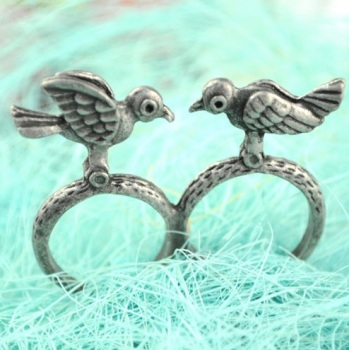 Silver Double Bird Ring
