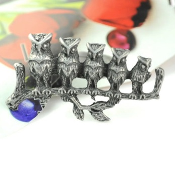 Brushed Silver Owl Knuckle Duster Ring