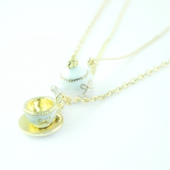 Enamel Tea-Cup & Tea Pot Necklace