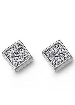 Crystal Square Matte Silver Tone Earrings