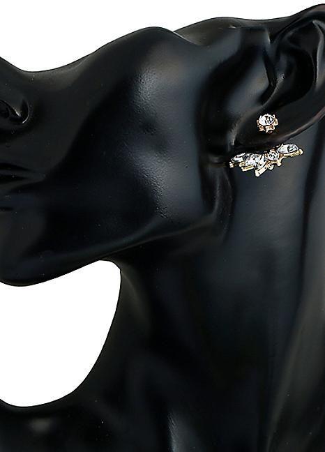 1920s Style Gem Ear Climber Earrings - Gold