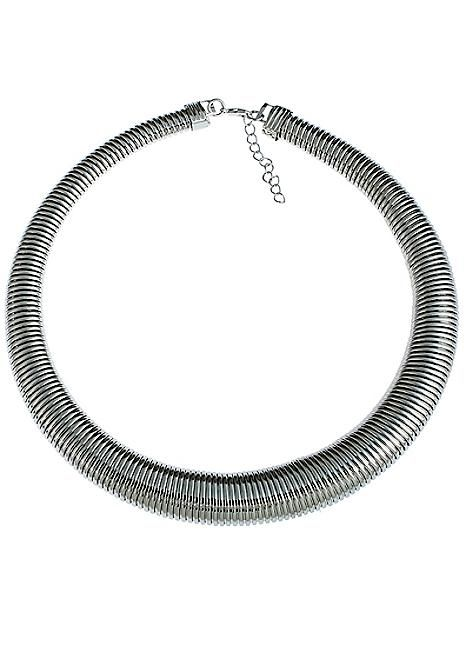Pewter Tone Coil Necklace