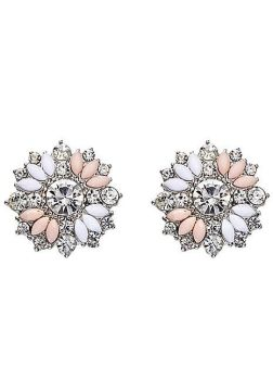 Light Pastel Crystal Flower Earrings