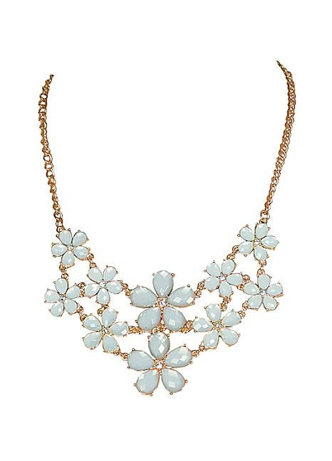 Baby Blue Daisy Drop Necklace
