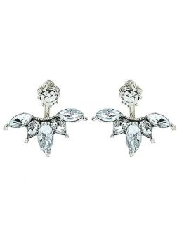 1920s Style Gem Ear Climber Earrings - Silver