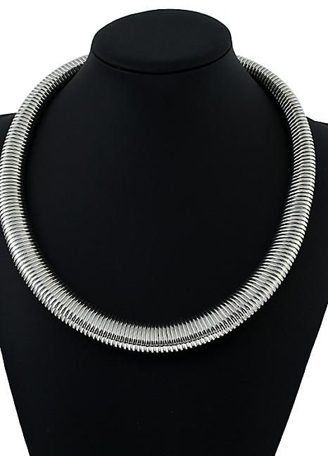 Silver Tone Coil Necklace