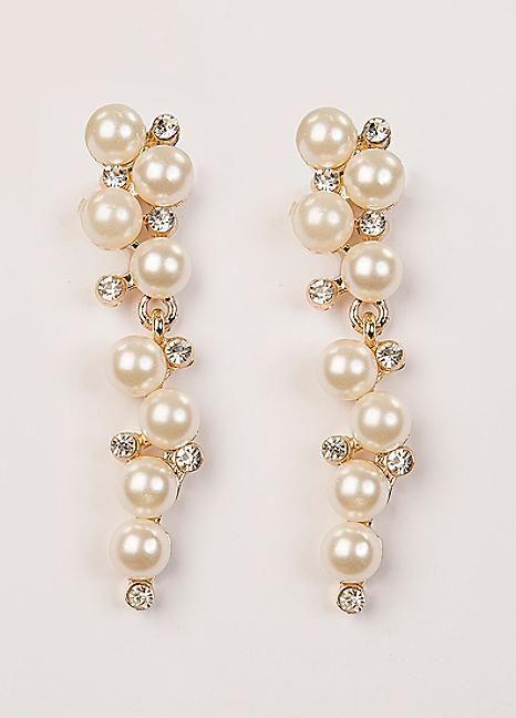 Multi Drop Pearl & Crystal Earrings