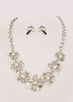 1920's Silver Pearl Statement Necklace Set