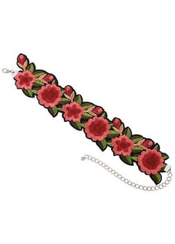 Embroidered Rose Choker Collar
