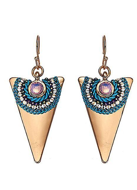 Gold Tone Triangle Earrings