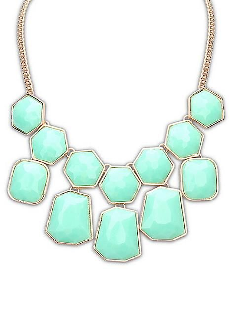 Mint Hexagon Statement Necklace