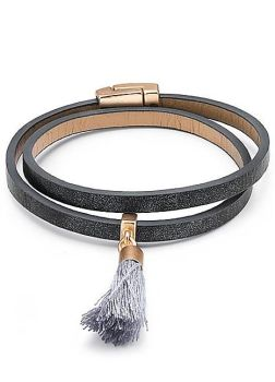 Grey PU Metallic Wrap Bracelet