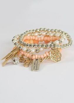 Love From Paris Coral Bead Bracelet