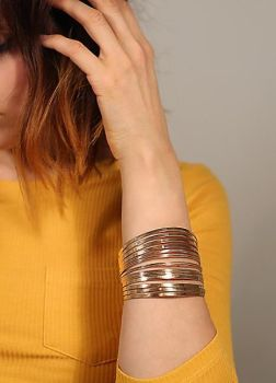 Gold Tone Directional Arm Cuff
