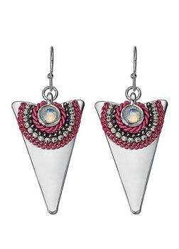 Silver Tone Triangle Earrings