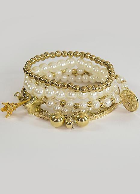 Love From Paris White Bead Bracelet