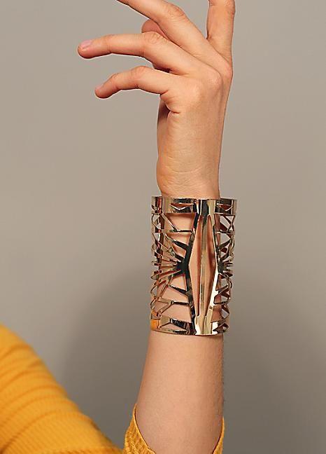 Gold Tone Art Deco Cut Out Arm Cuff