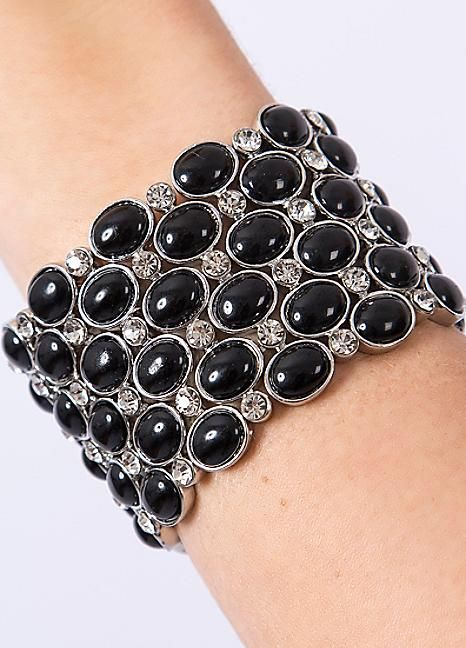 Timeless Stretch Black Stone Bracelet