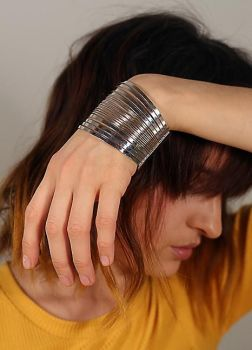 Silver Tone Directional Arm Cuff