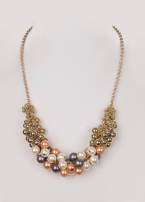 Multi Cluster Pearl Necklace